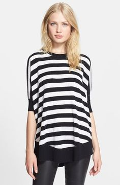 Free shipping and returns on autumn cashmere Stripe Cashmere Tunic Sweater (Nordstrom Exclusive) at Nordstrom.com. Chic black-and-white stripes offer standout style in this supersoft cashmere pullover cut in a flowy silhouette with a solid rib-knit shirttail hem.