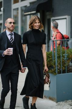 New York Fashion Week Street Style: Justin O'Shea And Veronika Heilbrunner