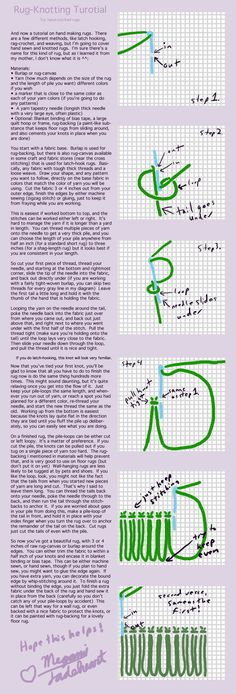 Rug-making tutorial by MegamiJadeheart on DeviantArt Rug-making tutorial by Meg. Rug-making tutorial by MegamiJadeheart on DeviantArt Rug-making tutorial by MegamiJadeheart on Dev Rug Hooking Designs, Rug Hooking Patterns, Rug Loom, Rya Rug, Latch Hook Rugs, Hand Hooked Rugs, Penny Rugs, Rug Inspiration, Rug Making