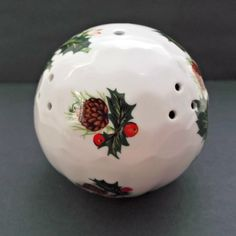 Queen's Bone China England Vintage Pomander Holly Berries Pinecones  offered by Ruby Lane shop Saltymaggie's Treasures