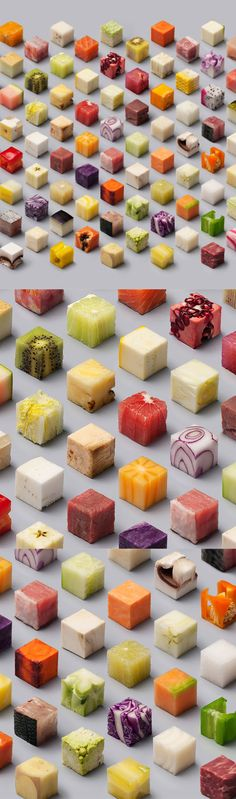 How These 98 Identical Food Cubes Were Made  We called up the artists, Lernert & Sander, to get the inside scoop on why and how they took 98 foods and cut them into 2.5 by 2.5 by 2.5 centimeter cubes and arranged them in a perfectly symmetrical pattern to be photographed.