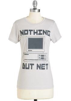 Troubleshoot and Score Tee. If youre all about the analog, the vintage computer printed on this cotton tee is a major score. #grey #modcloth