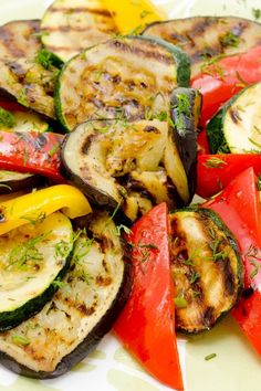 Grilled Vegetables #Recipe - Bell Peppers, Squash, Zucchini, Eggplant, Mushrooms and Asparagus