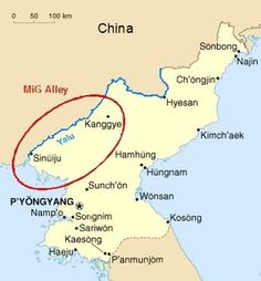 """""""MiG Alley"""" is the name given by U.S. Air Force pilots to the northwestern portion of North Korea, where the Yalu River empties into the Yellow Sea. During the Korean War, it was the site of numerous dogfights between U.S. fighter jets and those of the Communist forces, particularly the Soviet Union, which was confirmed after the fall of the Soviet Union. The North American F-86 Sabre and the Soviet-built Mikoyan-Gurevich MiG-15 were the aircraft used throughout most of the conflict."""