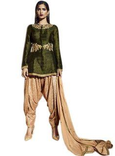 Tantalizing Olive Green Georgette Patiala Salwar Designer Suit-3030