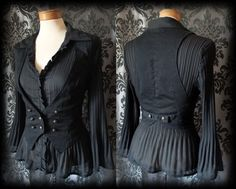 Gothic Black Brass Button MELANCHOLY Fitted Corset Waistcoat 10 12 Steampunk - £24.00