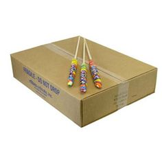 A large box filled with giant large lollipops that have swirls of rainbow colors throughout each pop. Dessert Bars, Dessert Tables, Large Lollipops, Retro Candy, Bulk Candy, Rainbow Swirl, Rainbow Colors, Swirls, Unicorn