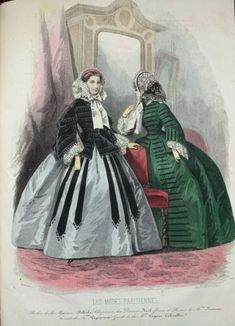 Fashion Plates, Hand Coloring, Fashion Prints, French Antiques, Costumes, Drawings, Anime, Dress, Painting