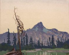 """""""Mount Cathedral from Lake O'Hara, B.C."""", 1927, woodcut by Walter J. Phillips"""