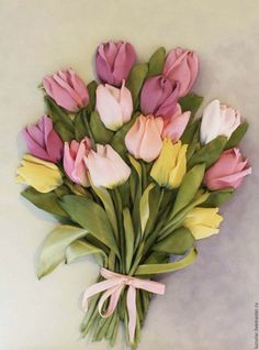 Купить Картина лентами Тюльпаны 30х40 см - розовый, тюльпаны, букет тюльпанов, нарцисс