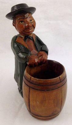 Vtg ANRI Hand Carved Wood Man Figure Barrel Cigarette Box Match Holder Sticker