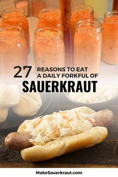 Sauerkraut is more than just a sandwich topping! MakeSauerkraut.com lists 27 benefits of a daily forkful of raw fermented sauerkraut, some you know and some you never heard of! This mouthwatering food boosts the immune system, aids in digestion for gut health, and keeps the brain healthy. It contains natural probiotics for kids and adults alike. Find out why a jar of sauerkraut (and kimchi) is a must-have in your healthy diet. #sauerkrauthealthbenefits #fermentedfoods