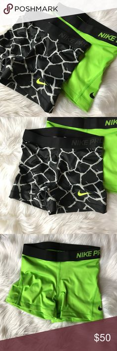 Nike Pro shorts Bundle includes: New Nike Pro shorts with tags. One neon green, size small - one black print, size small. Nike Shorts