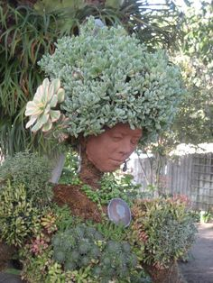 I want this to be a terra cotta head shaped planter. With succulents in it. Actually though it's a beautiful life-sized organic statue thing with a terra cotta face. Click through!