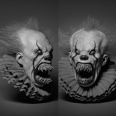 I loved the transformation scenes in the new IT movie and wanted to make a sculpt of something similar Clown Horror, Creepy Clown, Arte Horror, Creepy Dolls, Horror Art, Horror Movies, Pennywise Film, Pennywise The Dancing Clown, Dark Drawings