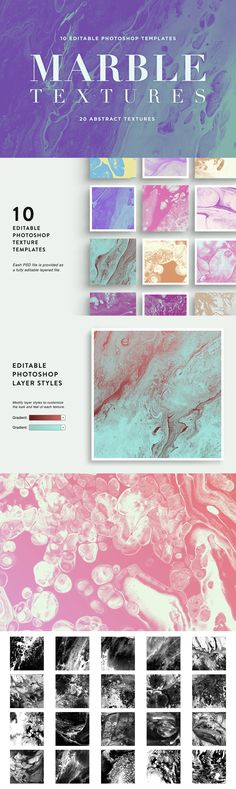 Marble Textures - This product contains 10 fully editable Photoshop template files. Easily edit each gradie...