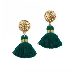 Rock N Rose Emmeline Mini Emerald Tassel Earrings ($31) ❤ liked on Polyvore featuring jewelry, earrings, green, emerald green jewelry, filigree jewelry, rock 'n rose, tassel jewelry and tassel earrings