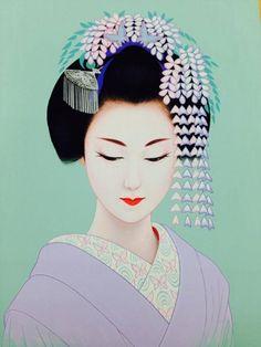 Art: Japanese beauty in Art Déco style by artist Ichiro Tsuruta Japanese Drawings, Japanese Prints, Japanese Pop Art, Japanese Beauty, Geisha Art, Geisha Drawing, Art Asiatique, Beauty In Art, Art Japonais