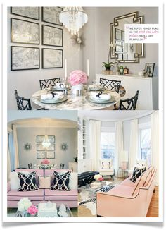 This space is a stunning combination of black, pink, grey and gold.  Brilliant.