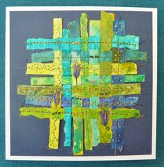 Small paper weaving (greetings card)   by lindavin58
