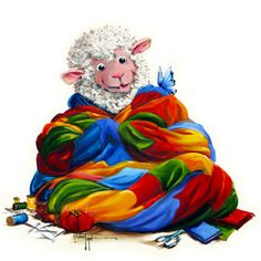 """Creature Comfort - Sheep Incognito QUILTING Print, Signed, Double Mat 8"""" x 10"""" on Etsy, $29.00"""