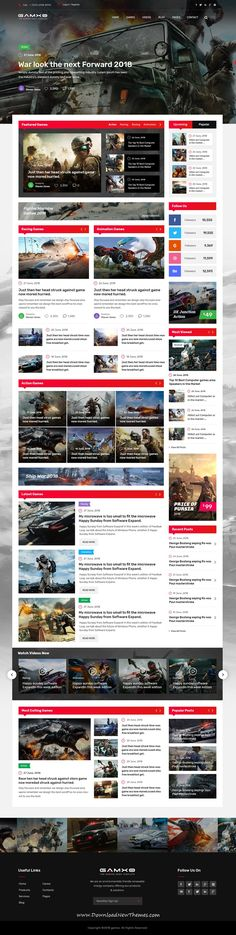 Gamxo is a clean and modern design #PSD #template for #gaming #News and #Magazine publishing website with 14 layered PSD files to download & live preview click on image or Visit 🡽