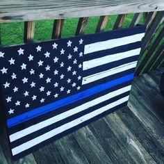 Thin Blue Line Flag - Police Officers. ParkwoodPallets.etsy.com
