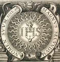 Anagrama del Santísimo Nombre de JESÚS. Compañía de Jesús fundada por san Ignacio de Loyola (siglo XVI), Roma.