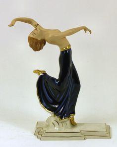 A Royal Dux porcelain - A lightly draped dancing girl wearing blue dress, 8.5ins high (2093x1658)