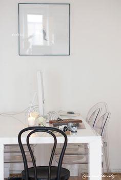 My home office: http://divaaniblogit.fi/charandthecity/2014/04/10/arkinurkkaukseni/