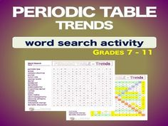 Periodic table of the elements scrapbook project pinterest periodic table trends wordsearch vocabulary warm up bell ringer urtaz Image collections