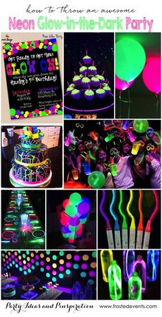 Party Themes- Neon Glow in the Dark Party Ideas- glow party pics, neon party pic… - DIY Ideen 13th Birthday Parties, Birthday Party For Teens, Sleepover Party, Birthday Fun, Birthday Celebration, Cake Birthday, Cool Birthday Ideas, Teenage Girl Birthday, 18th Birthday Party Themes