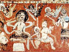 敦煌石窟人物 - Dunhuang mural in China Rock Sculpture, Sculptures, Ajanta Caves, Dunhuang, Organic Art, China Art, China Painting, Buddhist Art, Traditional Paintings