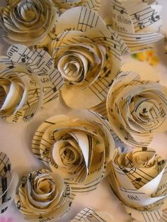 Items similar to vintage music paper rosettes-set of 20 on Etsy Now I have something to do with all my old sheet music! Sheet Music Crafts, Old Sheet Music, Music Paper, Vintage Sheet Music, Vintage Sheets, Music Sheets, Music Notes Decorations, Music Centerpieces, Music Decor