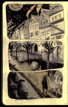 Angie H. Iver, (Angie Hoffmeister) artist and illustrator from Dusseldorf. Mysteriously hovering houses