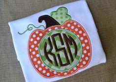 Girls Halloween Pumpkin Monogram shirt by ChildsBoutiquebyKeri, $23.00