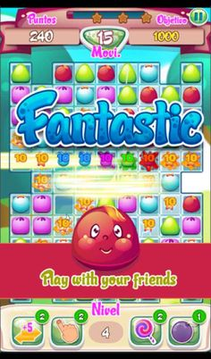 Download Jelly World Odissey free!* Enjoy the challenge and pleasure of combining and accurately eliminate candies sliding your finger across the screen.