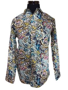 NWT $50 SSLR Brand Casual Shirt Mens LARGE Paisley Artwork Cotton Long Sleeve #SSLR #ButtonFront