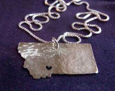 Montana State Necklace by IntegrativeCreations on Etsy, $48.00. I want this with the heart where Geraldine would be!