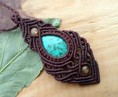 Turquoise macrame pendant macrame necklace micro by SelinofosArt
