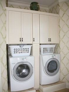 laundry room: space above washer/dryer, below cabinet for basket