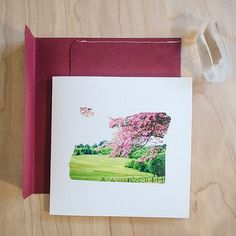 Springtime Wine Vineyard in Oregon square card! Blank on the inside with handmade envelope!