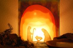 Ancient Hearth: Advent Week 3 Gifts: Silhouette Transparencies -- how to make them Christmas Nativity, Noel Christmas, Winter Christmas, All Things Christmas, Christmas Crafts, Christmas Decorations, Holiday Decor, Christmas Tables, Nordic Christmas