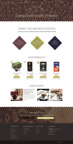 Cafe and Restaurant website inspirations at your coffee break? Browse for more Magento #templates! // Regular price: $179 // Sources available: .PSD, .XML, .PHTML, .CSS #Cafe and Restaurant #Magento
