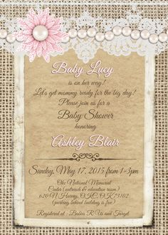 Burlap And Lace Vintage Baby Girl Shower Invitation With Pearls And Pink  Flower   Printable 5x7  T6