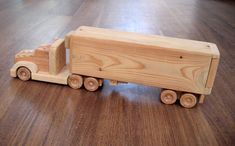 Jeffery the refrigerator wooden toy truck - a semi-trailer toy made of wood Woodworking Square, Woodworking For Kids, Woodworking Toys, Wooden Toy Trucks, Wooden Car, Wooden Toys, Wood Toys Plans, Small Wood Projects, Metal Toys