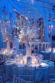 silver centerpieces - frosty winter wonderland