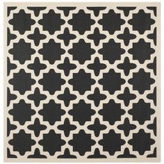 Safavieh Indoor/ Outdoor Courtyard Trellis-pattern Black/ Beige Rug (4' Square) - Overstock™ Shopping - Great Deals on Safavieh Round/Oval/Square