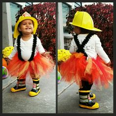 Make firefighter costume more girly with DIY tutu and lace suspenders. Iron on FIRE RESCUE on the back of her shirt. Nothing cuter