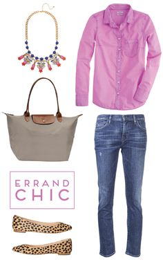 how to stay chic while running errands! #fridaysfancies BaubleBar Sapphire Archipelago Bib Necklace Longchamp Le Pliage Large Tote in Clay Loeffler Randall Quinnie Pointed Toe Flats in Cheetah Haircalf J.Crew Boy Shirt in Garment Dye in Neon Amethyst {25% off through tonight!} Citizens of Humanity Avedon Ultra Skinny Jeans